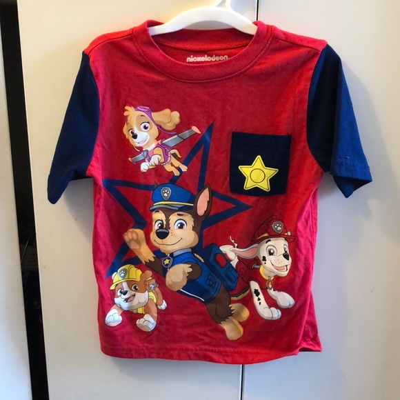 NWT TODDLER BOY PAW PATROL POCKET SHIRT SIZE 4T POCKET T-SHIRT
